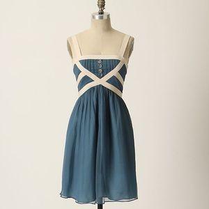 Anthropologie Burlapp Blue Silk Skyfall Dress